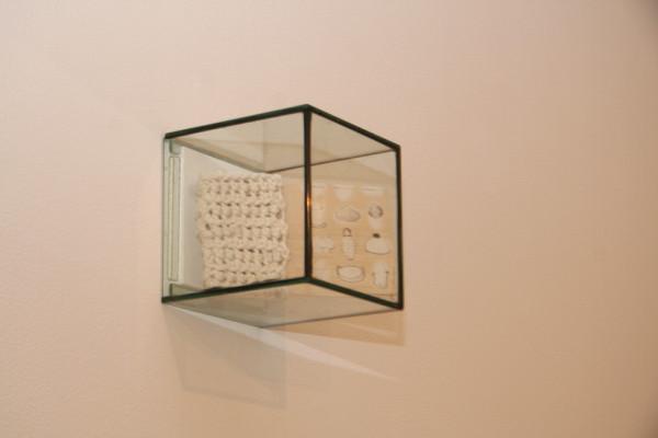 Lighthomewear, 2012, pen on balsa wood, wool, glass